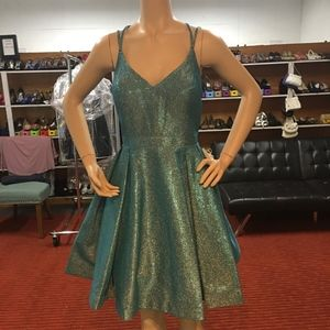 NWT! Glittery Turquoise V- Neck Homecoming Dress